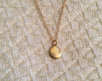 Dainty gold tone disc necklace ; matte gold chain