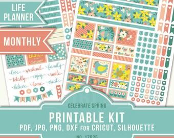 April Planner Stickers, Erin Condren Monthly Kit, ECLP April Stickers, Monthly Sticker Kit, Easter Planner Stickers, Cricut, 17025