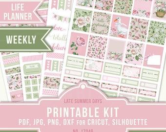 ECLP Vertical, Printable Planner Stickers, Planner Stickers, Erin Condren Planner, September Sticker Kit, Flower Planner Sticker, 17046