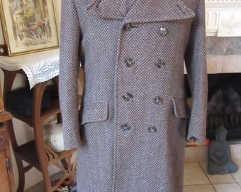 Vintage genuine gentlemens overcoat 1930/1940/1950,double breast, pure english wool