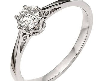 1/3 carat crown setting diamond engagement ring