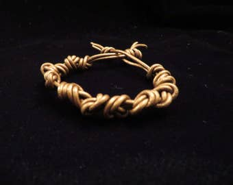 2mm Bronze Knotted Leather Bracelet