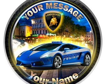 Police Lamborghini Personalised Edible Icing. Birthday Cake Topper Decoration 7.5""