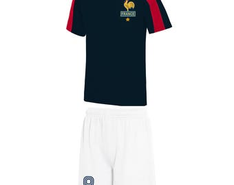 Adults and Kids France Les Bleus French Vintage Football Shirt and Shorts with Personalisation - Blue / White