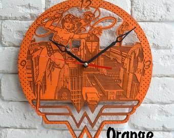 Wonder Woman Wall Art Clock DC accessories wonder woman art wonder woman birthday gift wonder woman decor dc design wonder woman kids clock
