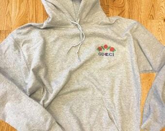 Ava Nirui Gucci Champion Design Grey Hoodie Hoody Sweatshirt - avanope