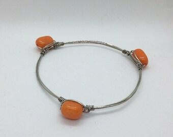 Orange Bead Bangle - Silver - Bracelet - Handmade - Gift - Jewelry
