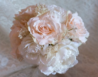 Pink and White Rose Bridal Bouquet, Silk Roses with Lace, Rose Bride Bouquet