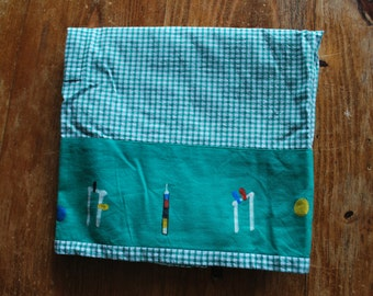 Vintage Apron Green and White Gingham with Croquet Image