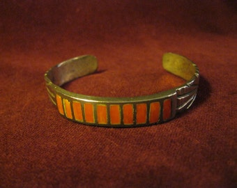 Vintage Southwest, Native American, Coral and Sterling Silver, Cuff Bracelet