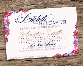Floral Bridal Shower Invitation, Glitter Invitation, Surprise Bridal Shower Invitation