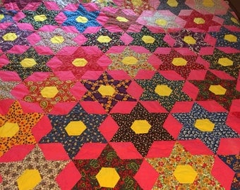Pink and Yellow Hexagon Six-Pointed Star Quilt