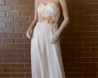 Champagne Coloured Floor Length Formal/Ball Gown with Bead Detail
