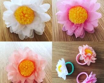 Flower pom pom hair tie
