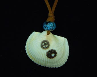 Ocean Steam Necklace- shell, gear, glass bead, leather cord