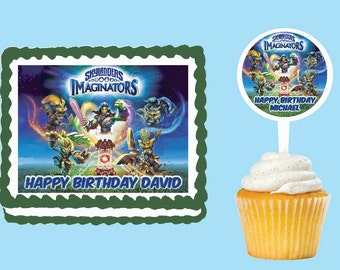 Skylanders Imaginators Edible Cake Cupcake Cookie Toppers Decorations  Or Plastic cupcake pick top for birthday party