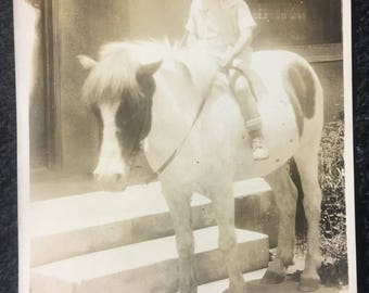 1920s Photo Postcard of Little Girl on Horse