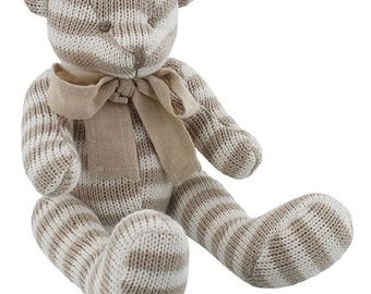 Soft Knitted Stripe Teddy Bear 15cm
