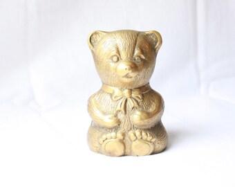Vintage Brass Teddy Bear Bank