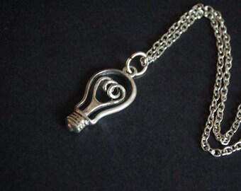 Light bulb idea artist necklace