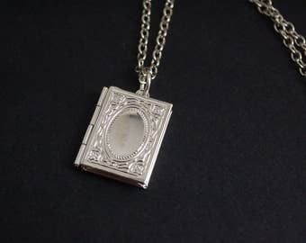 Book lovers locket necklace