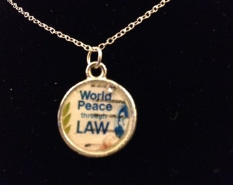 Vintage World Peace Stamp Pendant
