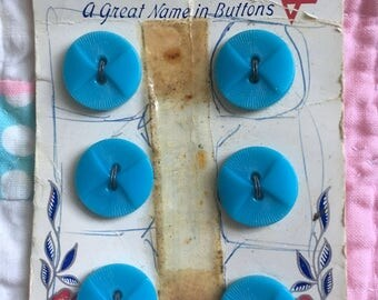Vintage 6 Turquoise Plastic Buttons on Card-Unused-USA