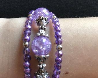 Purple Triple-Strand Bracelet