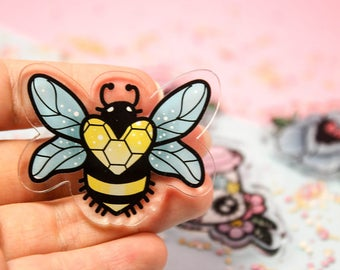 Crystal Bee - Laser Cut Illustrated Acrylic Brooch - tattoo flash design pin collar clip