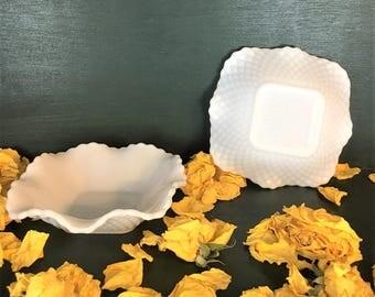 Vintage Hazel Atlas Diamond Milk Glass Dishes