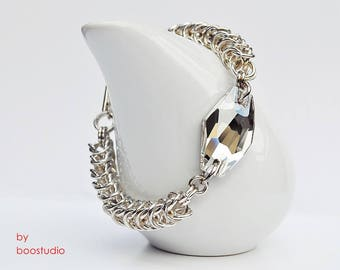 Chainmaille & Crystal Silver Shade Hexagon bracelet, Swarovski bracelet, chainmaille bracelet