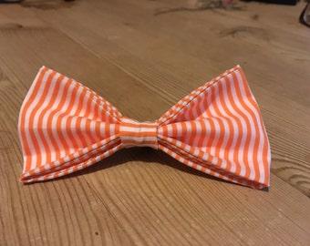 Orange and White Stripe Dog Bow Tie