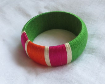 "thread wrapped chunky bangle ""Parakeet"""