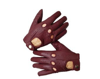 Oxblood sheep leather Driving Gloves