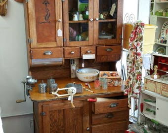 Solid Oak Hoosier Cabinet Circa 1910-For Pick-up or Local Delivery Only