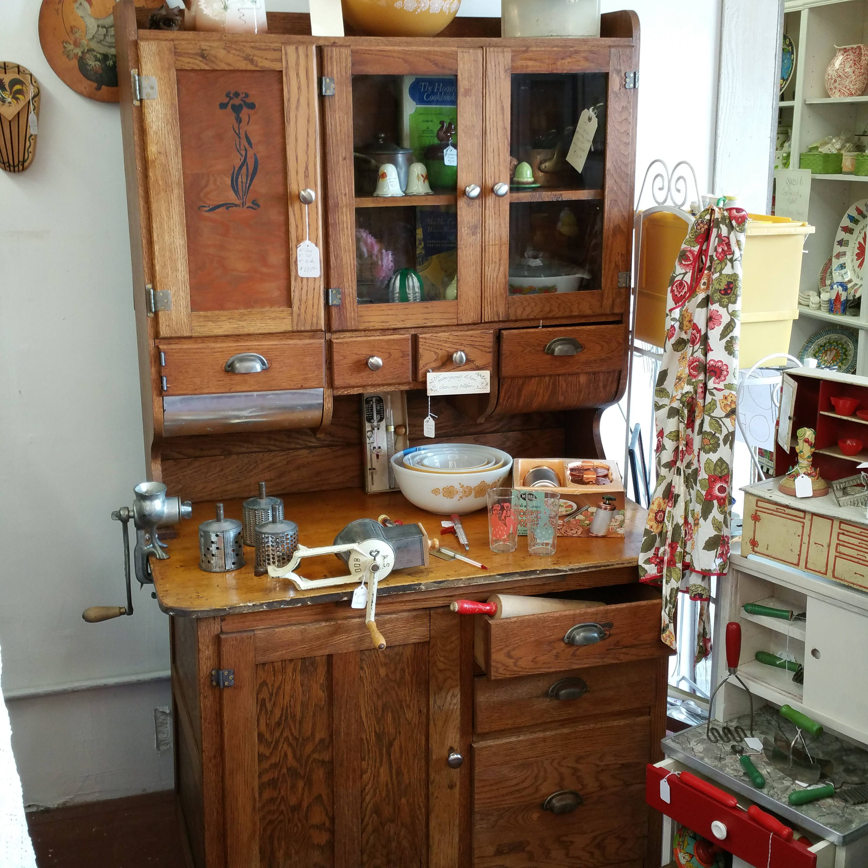 Hoosier Kitchen Cabinet: Solid Oak Hoosier Cabinet Circa 1910-For Pick-up Or Local