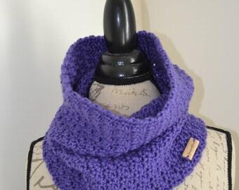 Handmade Knit Crochet Ladies/Women Infinity Scarf, Neck Warmer, Cowl, in Violet.