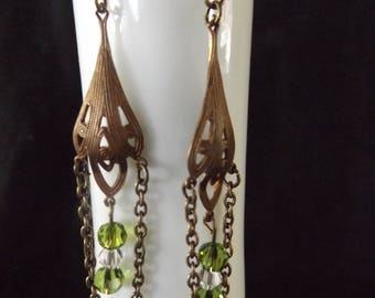 Vintage Style Chandelier Dangle Earrings with Green Accents