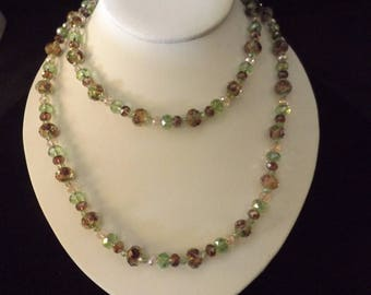 Long Floral Bead Springtime Beaded Necklace