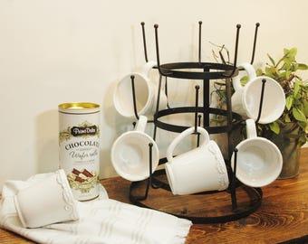 Farmhouse coffee mug rack, metal mug rack, Farmhouse kitchen decor, Coffee bar rack, Coffee station, Metal coffee cup rack