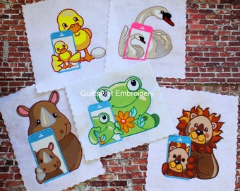 Machine Embroidery Animal Selfie Designs Set1