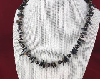 Dark brown pearl and shell necklace