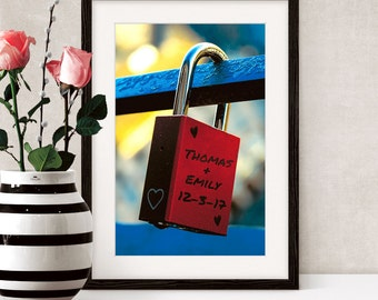 Red Love Lock on Fence Print – Personalised with Names/Date,Love Padlock,Relationship Art Print, Wedding Gift,Engagement Gift,Anniversary