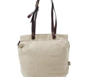 Handbag in linen color natural brown leather handles