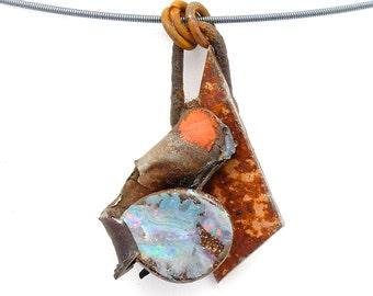 Milky Boulder Opal Pendant