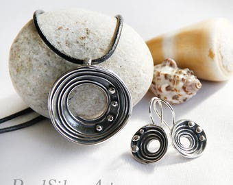 Jewelry silver set/ Silver earrings/ Silver pendant/ Sterling silver/ Jewelry for her