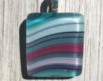 Fused Glass Pendant - Aqua Pink Purple Swirl Pendant