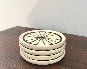 Bicycle Coaster Set, Bicycle Wheel Coaster Set, Bike Themed Coasters, Set of Coasters, Gifts for Cyclist, Bicycle Gift