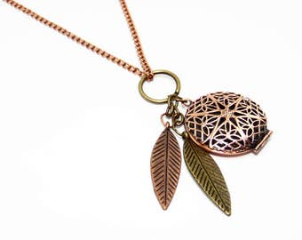 Copper Feather Diffuser Locket