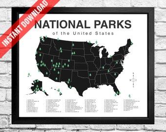 National Parks Map Checklist - Instant Download